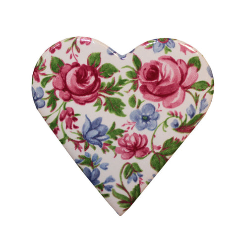 Ceramic heart brooch - rose bloom