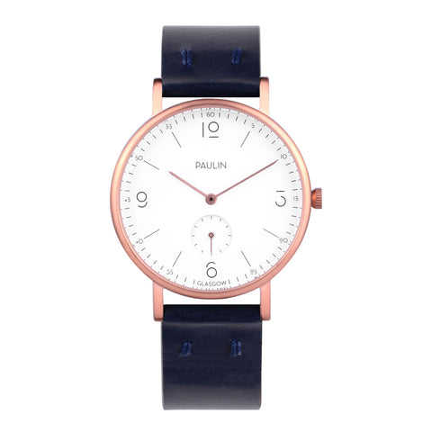 Commuter numerical watch - navy and rose gold