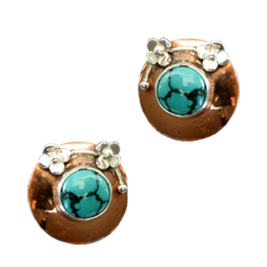 Copper and turquoise stud earrings