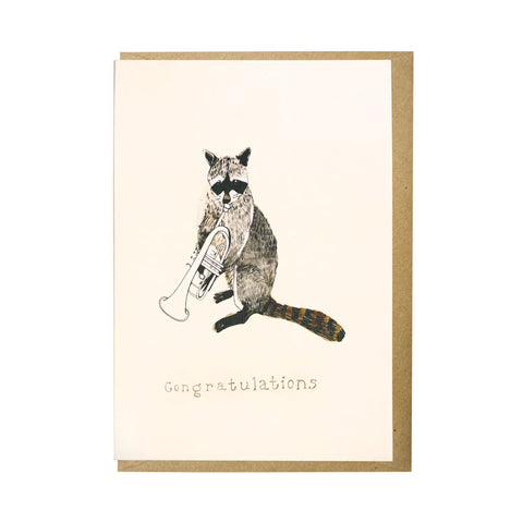 Musical raccoon card