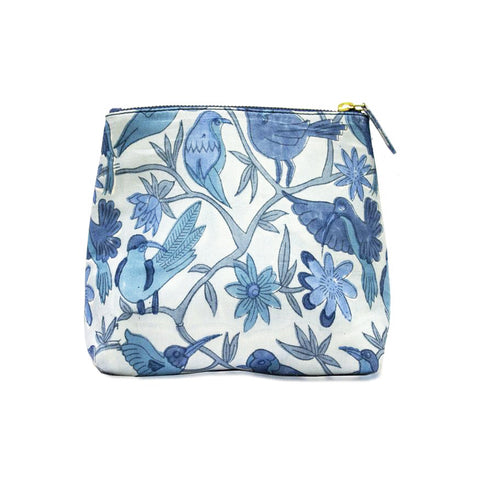 Blue birds make-up bag