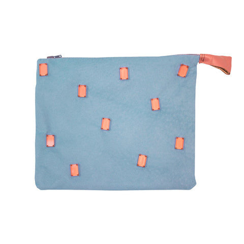 Embellished pouch - grey