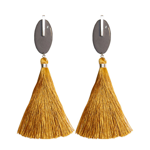 Enamel tassel earrings - dark grey & gold