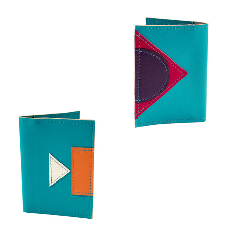 Geometric leather travel wallet - teal