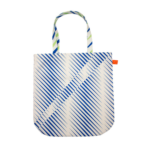 Pattern tote bag - blue & white