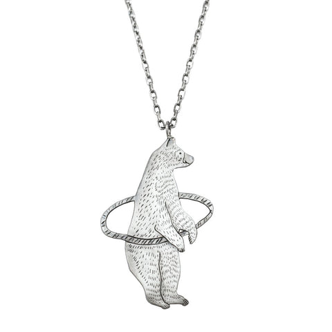 Hula hooping bear necklace