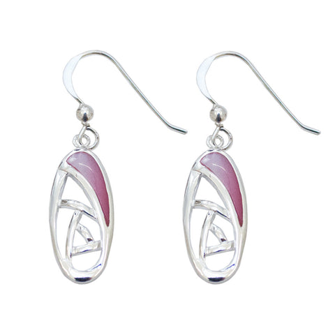 Pink oval Mackintosh rose earrings