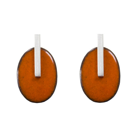 Enamel oval studs - orange