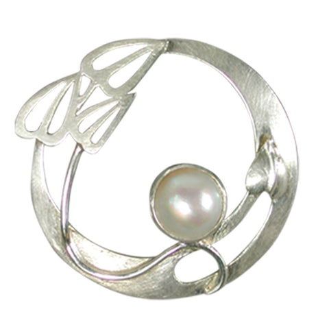 Pearl and silver brooch