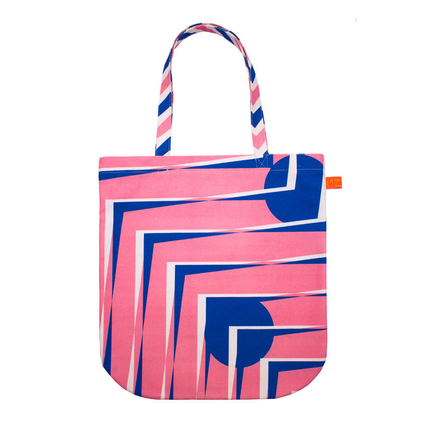 Pattern tote bag - pink & white