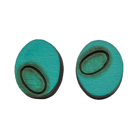 Creel oval studs - turquoise