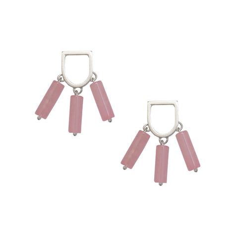 Tassel earrings - rose quartz