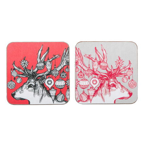 Christmas stag coasters - set of 4