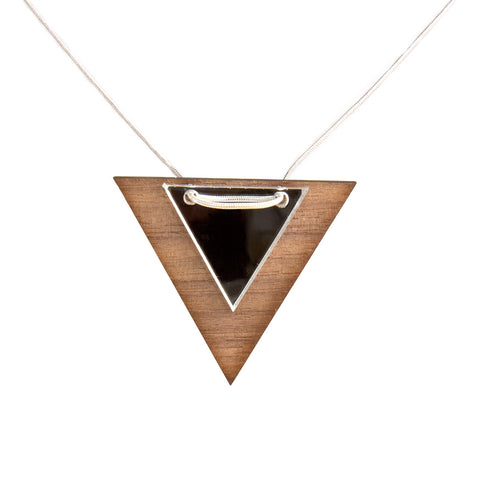 Acrylic triangle necklace - wood