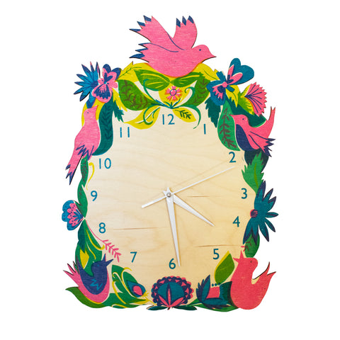 Colourful birds clock
