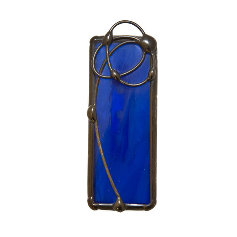 Blue railings stained glass brooch