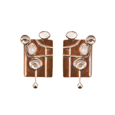 Copper and moonstone earrings