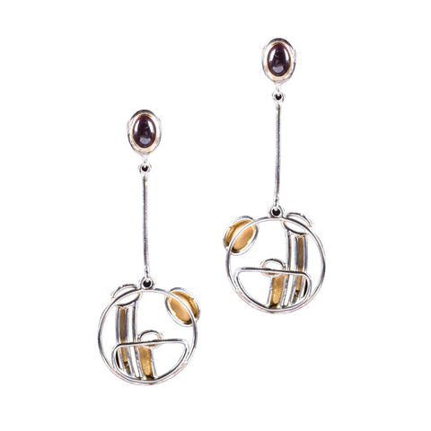 Garnet, gold and silver drop earrings