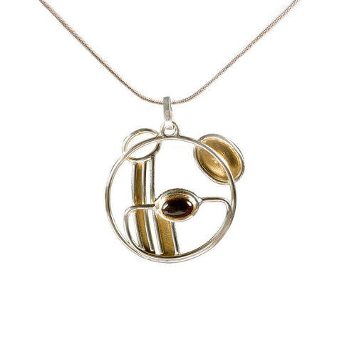 Garnet, gold and silver pendant
