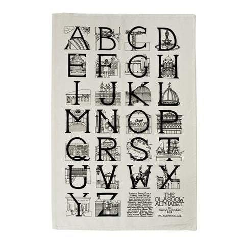 Glasgow A-Z tea towel