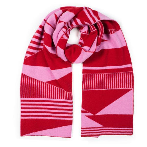 Semaphore blanket scarf - pink & red