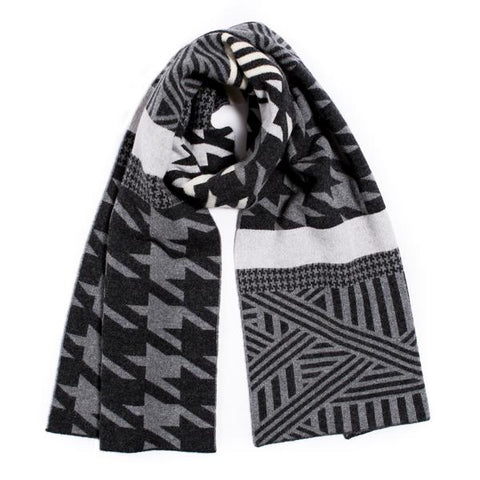 Houndstooth slim scarf - grey