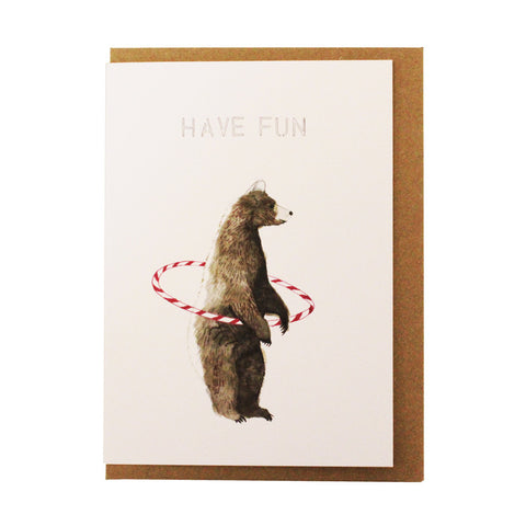 Have fun hula-hoop bear card