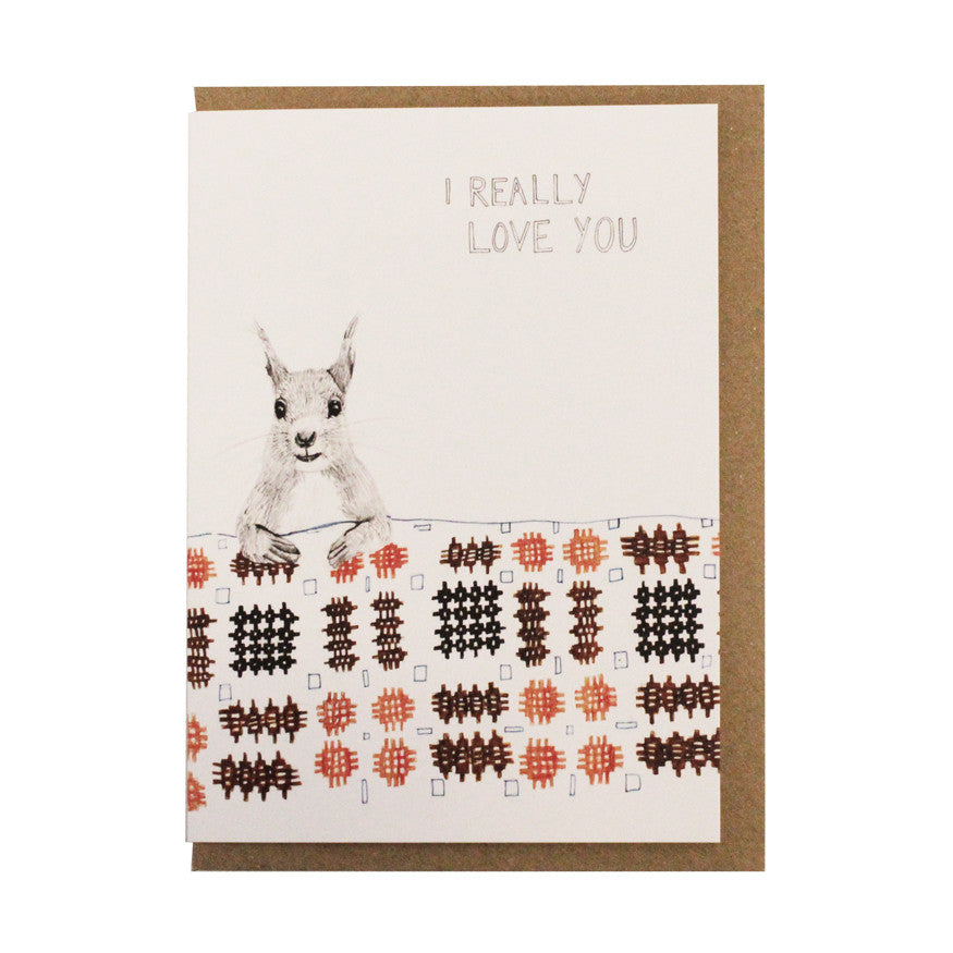 Love you patchwork squirrel card