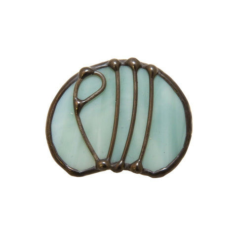 Stained glass brooch - sea green willow