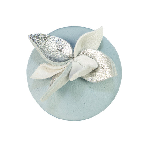 Petal leather brooch - blue