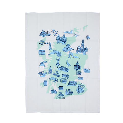 Scottish map tea towel