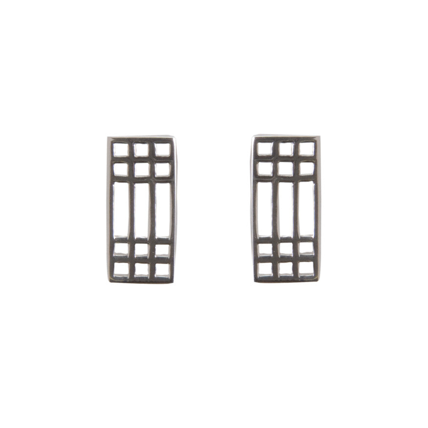 Silver lattice stud earrings