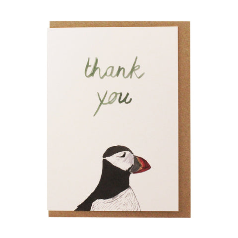 Thank you puffin card