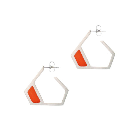 Triangle hoop stud earrings - orange
