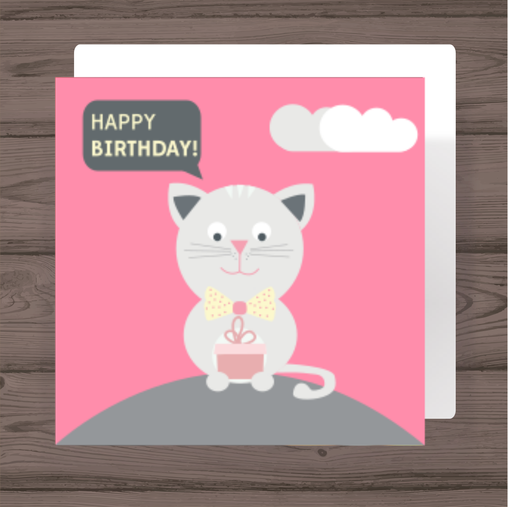Happy Birthday Card With A Cat Holding Present