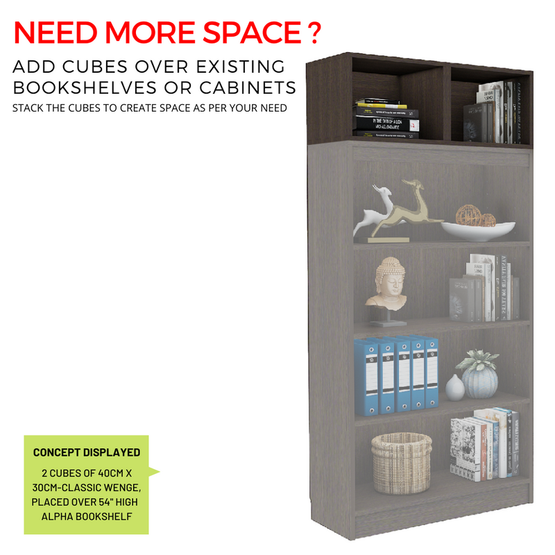 Cubox Storage unit- Open type, 30 cm wide x 30 cm high (Set of 4) - Mahogany for Rs. 4,299.00 at A10 SHOP