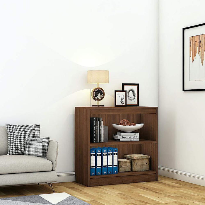 "Alpha Bookshelf & Storage Cabinet with 3 shelf, 30"" high- Acacia Walnut *Free Installation*"