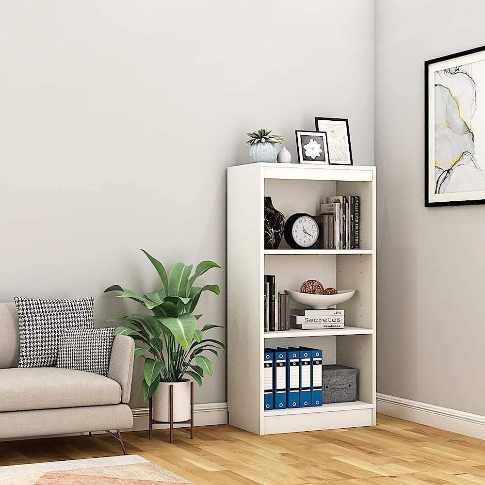 "Alpha Bookshelf & Storage Cabinet with 4 shelf, 48"" high x 24"" wide-Frosty White *Free Installation* - A10 SHOP"