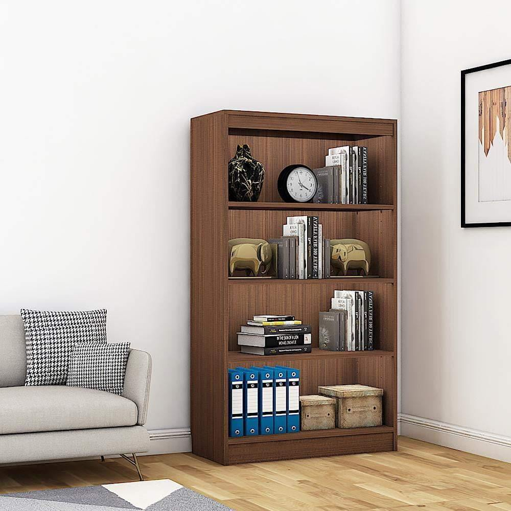 "Alpha Bookshelf & Storage Cabinet with 4 shelf, 54"" high- Acacia Walnut *Free Installation* - A10 SHOP"