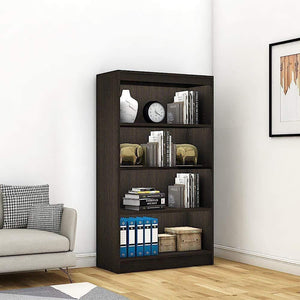 "Alpha Bookshelf & Storage Cabinet with 4 shelf, 54"" high-Classic Wenge *Free Installation* - A10 SHOP"