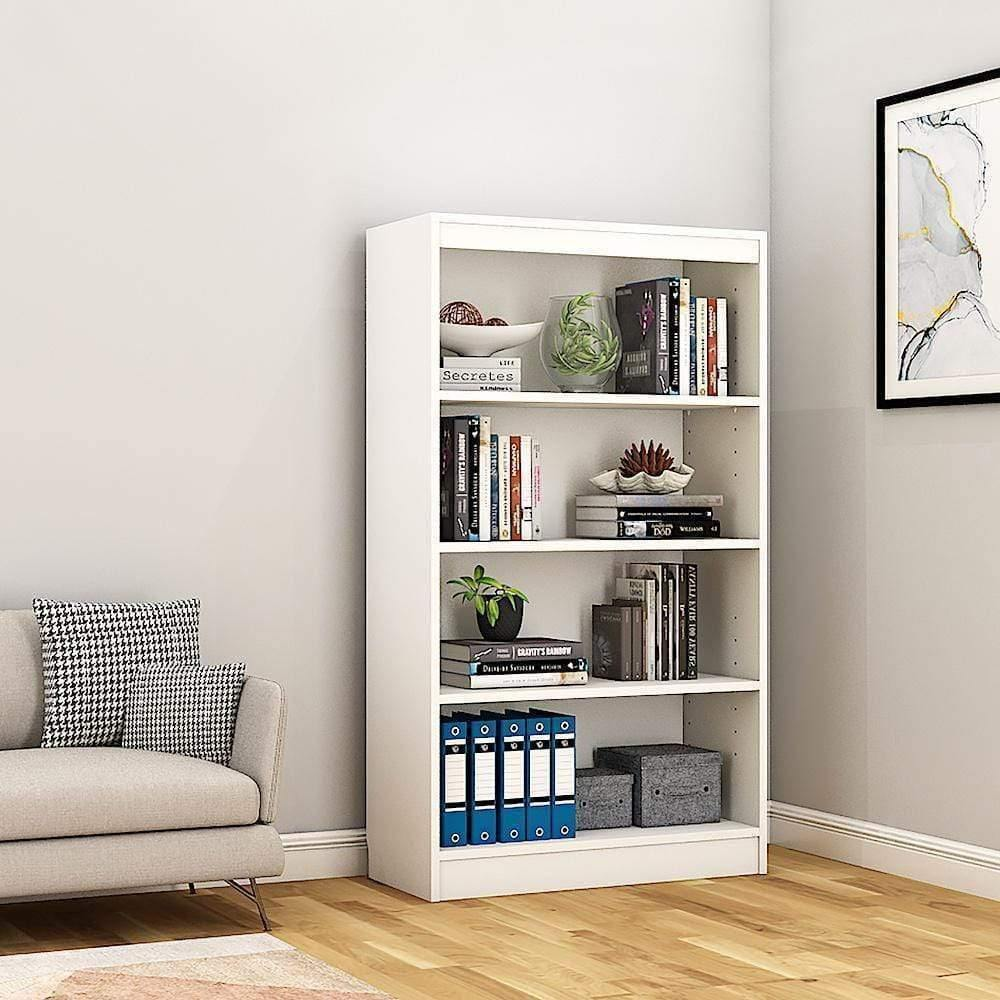 "Alpha Bookshelf & Storage Cabinet with 4 shelf, 54"" high-Frosty White *Free Installation* - A10 SHOP"
