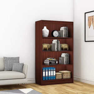 "Alpha Bookshelf & Storage Cabinet with 4 shelf, 54"" high-Mahogany *Free Installation* - A10 SHOP"