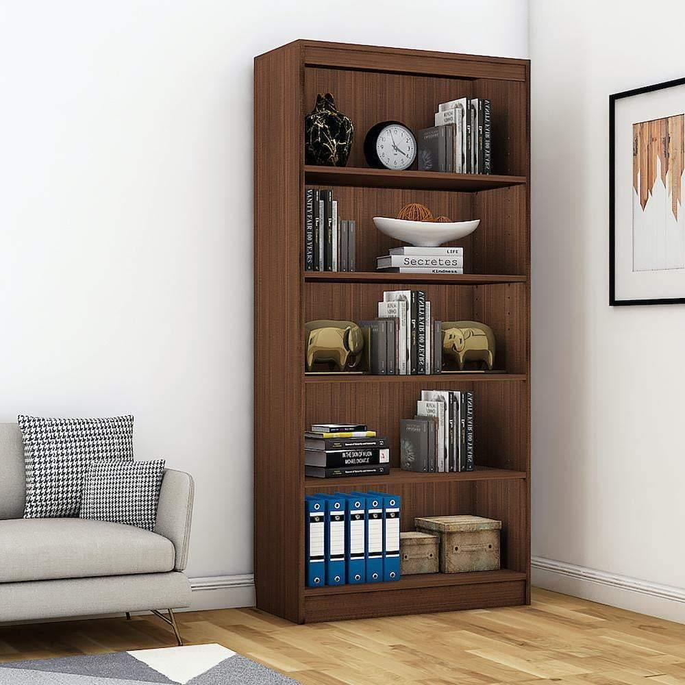 "Alpha Bookshelf & Storage Cabinet with 5 shelf, 67"" high- Acacia Walnut *Free Installation* - A10 SHOP"