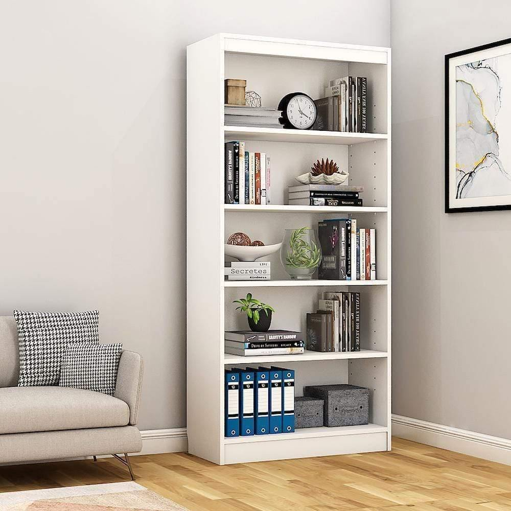 "Alpha Bookshelf & Storage Cabinet with 5 shelf, 67"" high- Frosty White *Free Installation* - A10 SHOP"