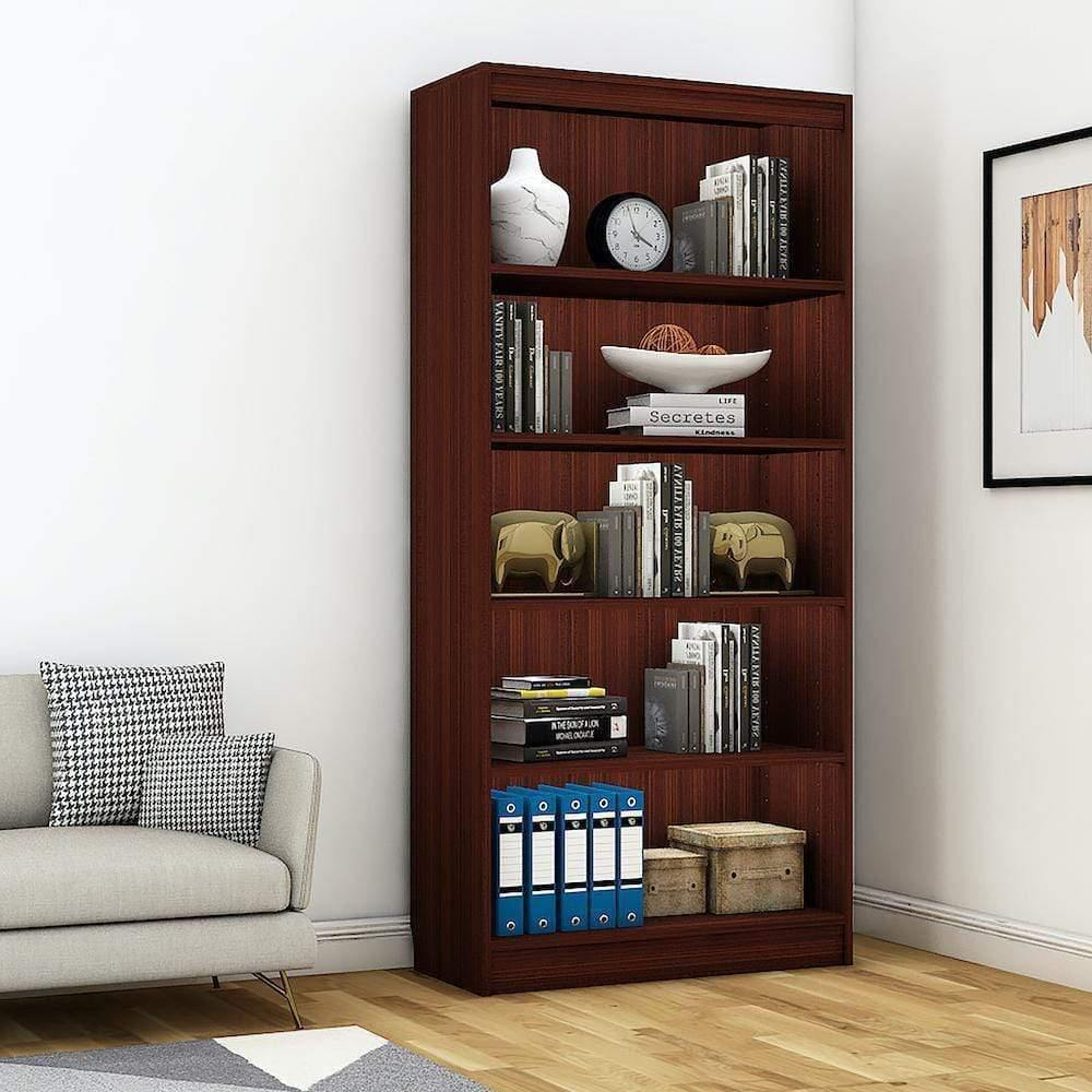 "Alpha Bookshelf & Storage Cabinet with 5 shelf, 67"" high- Mahogany *Free Installation* - A10 SHOP"