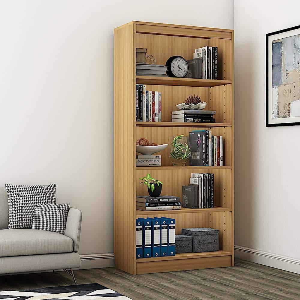 "Alpha Bookshelf & Storage Cabinet with 5 shelf, 67"" high- Misty Oak *Free Installation* - A10 SHOP"