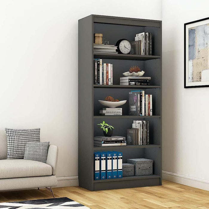 "Alpha Bookshelf & Storage Cabinet with 5 shelf, 67"" high- Slate Grey *Free Installation*"