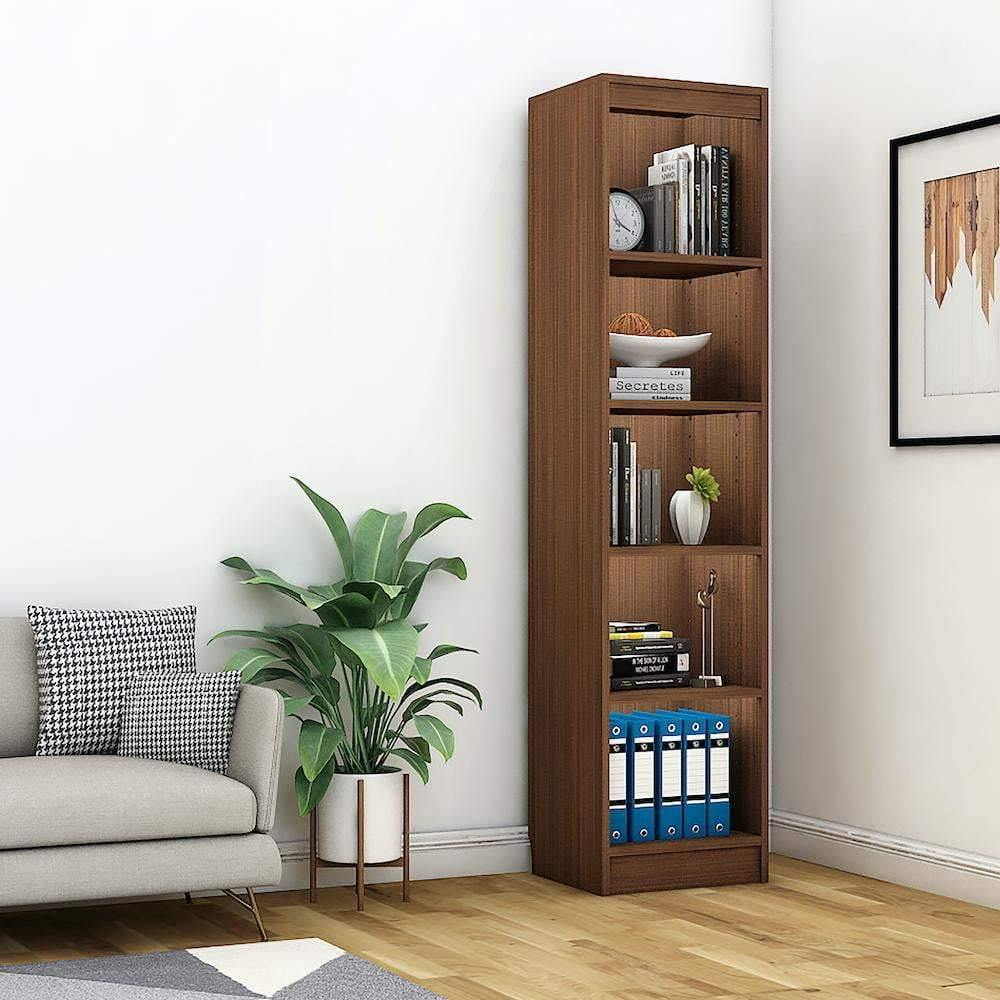 "Alpha Bookshelf & Storage Cabinet with 5 shelf, 67"" high (Tower)- Acacia Walnut *Free Installation* - A10 SHOP"