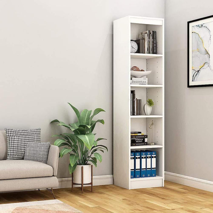 "Alpha Bookshelf & Storage Cabinet with 5 shelf, 67"" high (Tower)- Frosty White *Free Installation*"