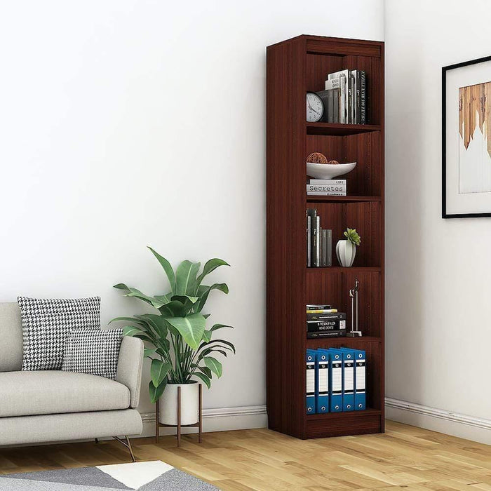 "Alpha Bookshelf & Storage Cabinet with 5 shelf, 67"" high (Tower)- Mahogany *Free Installation*"
